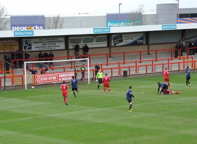Droylsden 0 Stamford 3. 24. 1-0 to Stamford.